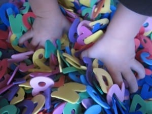 foam letters and number sensory