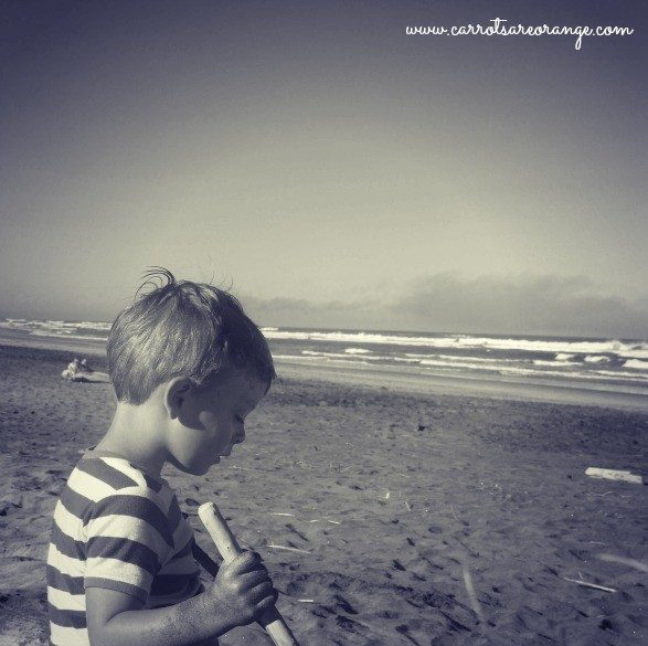 A young boy sitting on the beach