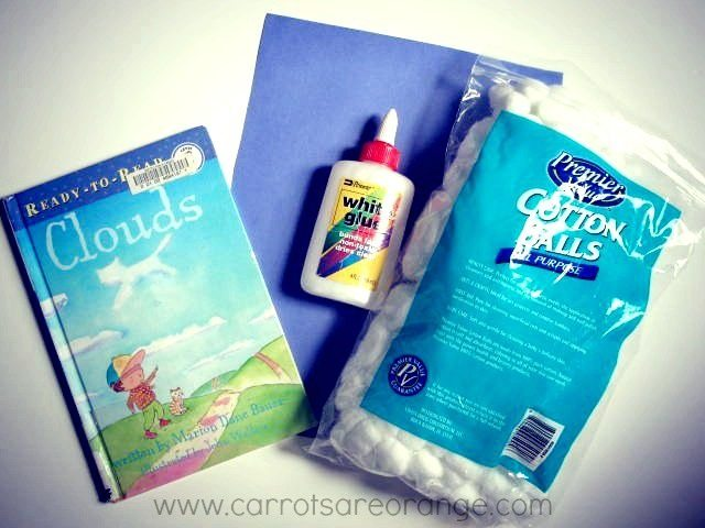Materials for a Clouds Activity for Preschoolers