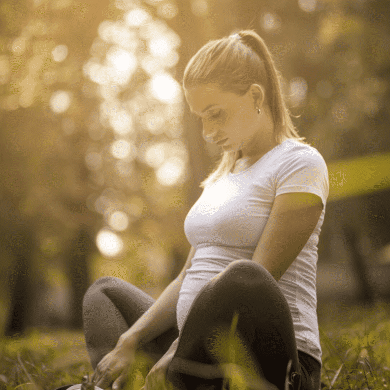 A pregnant woman meditating