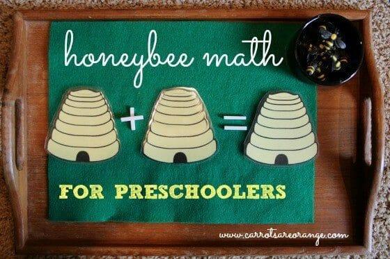 montessori math activity with honeybees