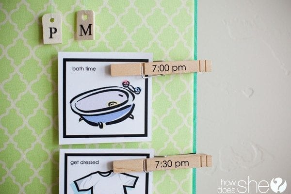 a chore chart using clothespins