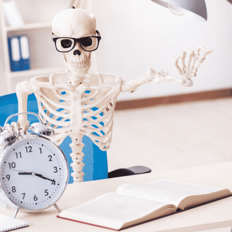 Skeleton at School Pretending to be a Teacher or Student