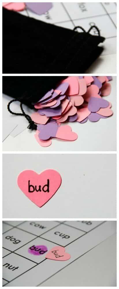 Valentine short vowel word Bingo Language Activity