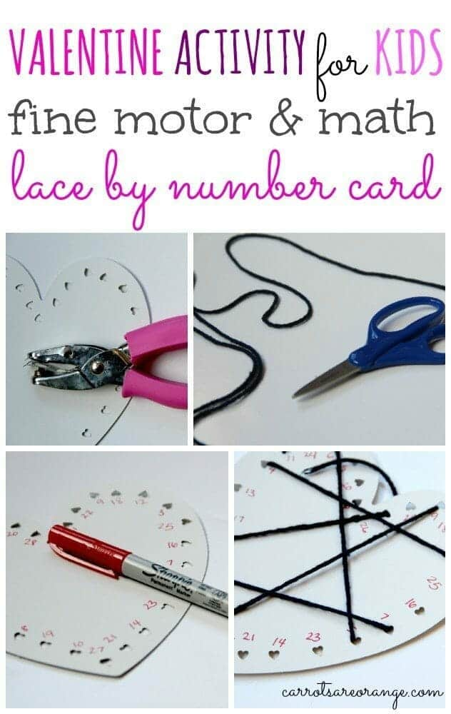 Valentine Lacing Card for Kids