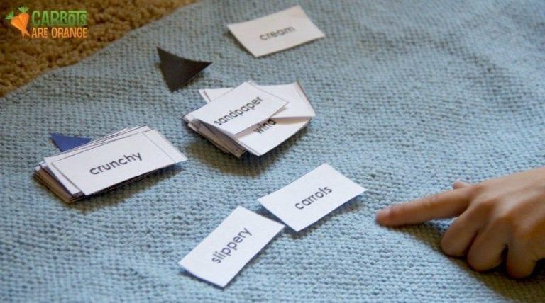 Montessori Preposition Card Work