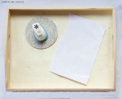 montessori winter tray SNOWFLAKE PAPER HOLE PUNCHING