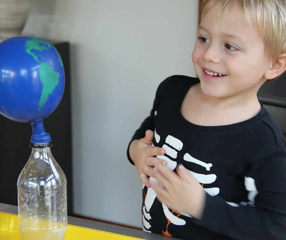 Baking Soda Vinegar Science Experiment with Balloons - Earth Day Science