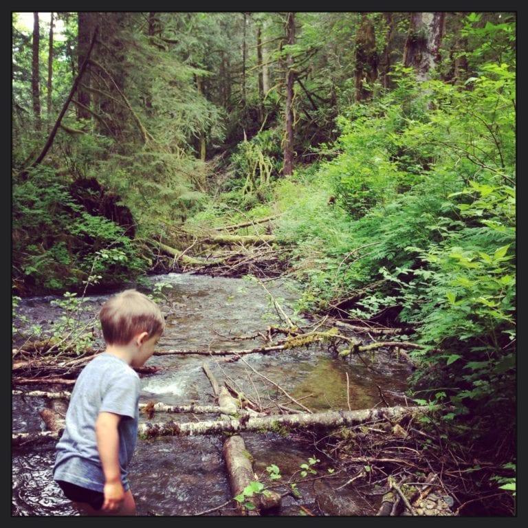 children in nature stream
