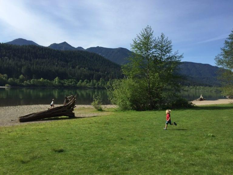 children in nature running