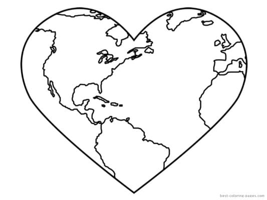 Earth Day Coloring Pages - Heart Earth