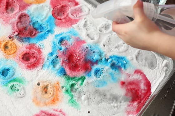 Baking Soda and Vinegar Experiment with Food Coloring