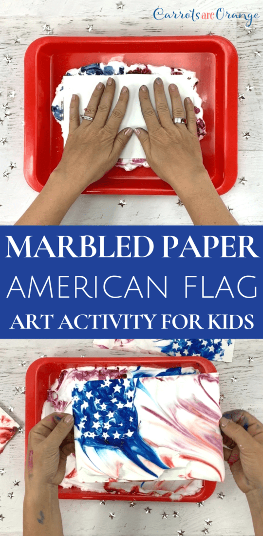 Make a Marbled Paper Art Print of the American Flag