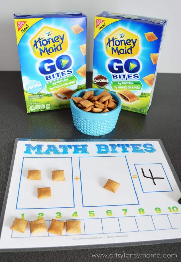 Picture of a math game using crackers