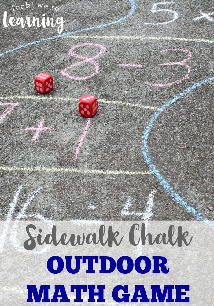 photo of a sidewalk chalk dice game