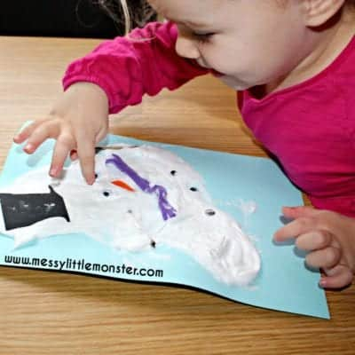 photo of puffy paint snowman
