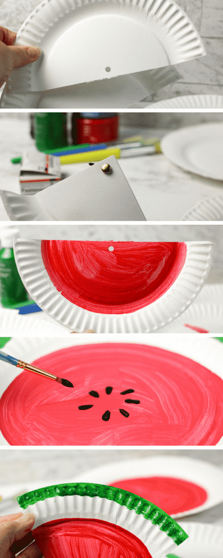 Watermelon Fraction Paper Plate Craft